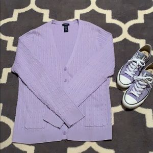 Izod Light Purple Cable Knit Cardigan L